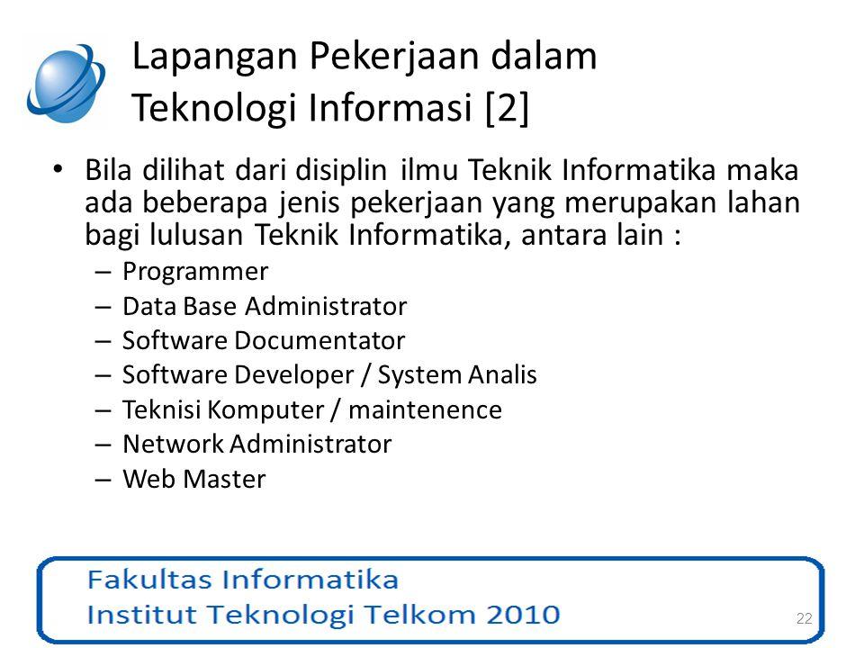 Lapangan Pekerjaan dalam Teknologi Informasi [2]